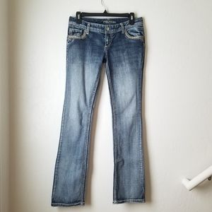Maurices Lightwash Bling pocket Straight leg jean